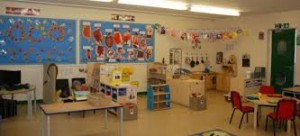 One of the cheerful classrooms in the school.